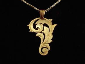 Engraved Leaf pendant - 14K yellow gold+chain