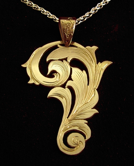 Custom hand engraving unique handmade gold jewelry by guy cohen art hand engraved blossom pendant mozeypictures Image collections