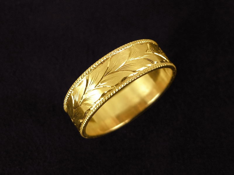with by antique leaf originals bowman finish silver gold engraved bands handmade ring wedding
